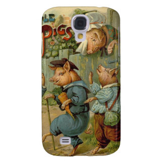 Vintage Fairy Tale, Three Little Pigs Galaxy S4 Case