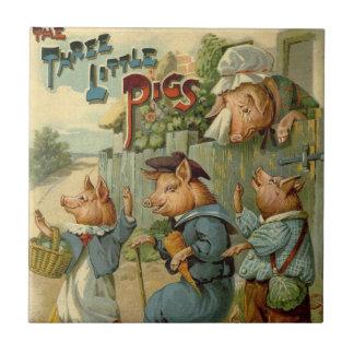 Vintage Fairy Tale, Three Little Pigs Tile