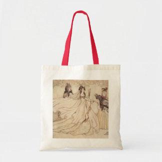Vintage Fairy Tales, Cinderella by Arthur Rackham Budget Tote Bag