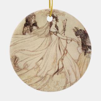 Vintage Fairy Tales, Cinderella by Arthur Rackham Round Ceramic Decoration
