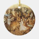 Vintage Fairy Tales, Rabbit Among the Fairies Christmas Tree Ornament