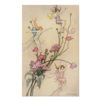 Vintage Fairy Tales, Three Spirits Filled With Joy Poster