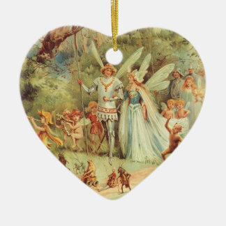 Vintage Fairy Tales, Thumbelina and Prince Wedding Christmas Ornament