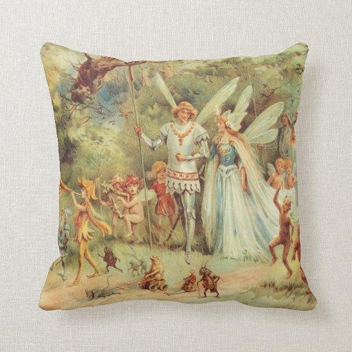 Vintage Fairy Tales, Thumbelina and Prince Wedding Cushion