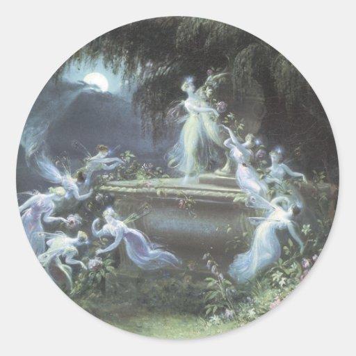 Vintage Fairy Visit At Moonlight 1832 Round Sticker