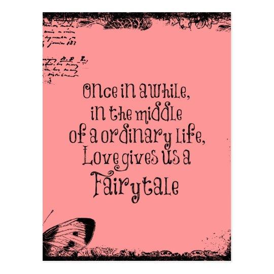 Vintage Fairytale Love Quote Postcard