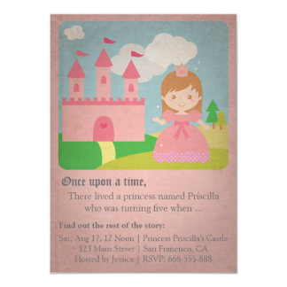 Vintage Fairytale Princess, Girl Birthday Party 11 Cm X 16 Cm Invitation Card