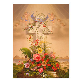 Vintage Faith Hope Charity Easter Cross 1875 Postcard