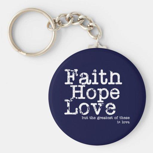 Vintage Faith Hope Love Keychain