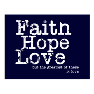 Vintage Faith Hope Love Postcard