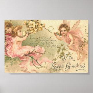 Vintage Faithful Valentine Flower Fairies Print