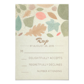 Vintage Fall and Gold Dots Wedding RSVP 9 Cm X 13 Cm Invitation Card