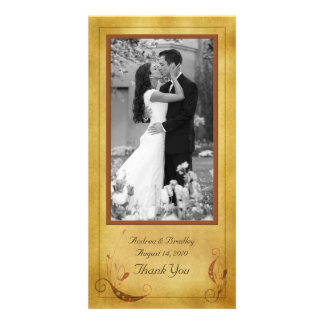 Vintage Fall Country Floral Wedding Photocard Card