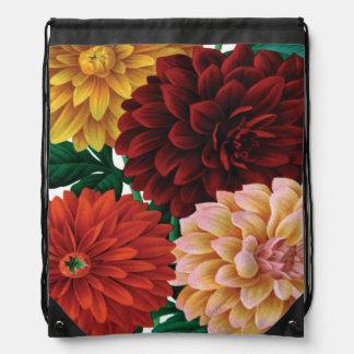 VINTAGE FALL dahlias vintage Drawstring Bags