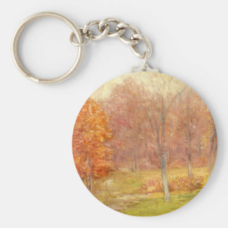 Vintage Fall Forest Painting Keychain