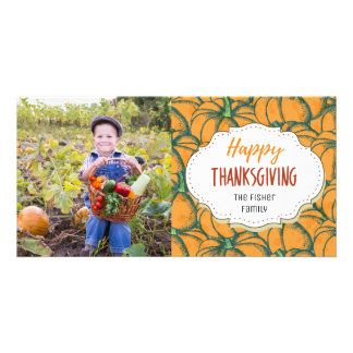 Vintage Fall Pumpkins Thanksgiving Photo Card