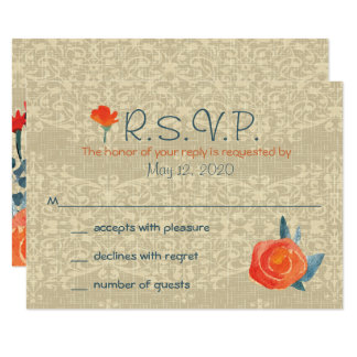 Vintage Fall, Rustic Response Cards 9 Cm X 13 Cm Invitation Card