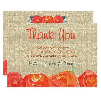 Vintage Fall, Rustic Thank You Cards 9 Cm X 13 Cm Invitation Card