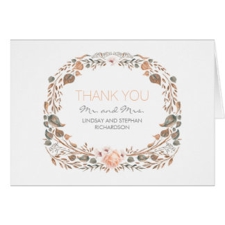 Vintage Fall Watercolor Woodland Wedding Thank You Note Card