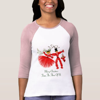 Vintage Family Christmas Ladies 3/4 Sleeve Raglan T-Shirt