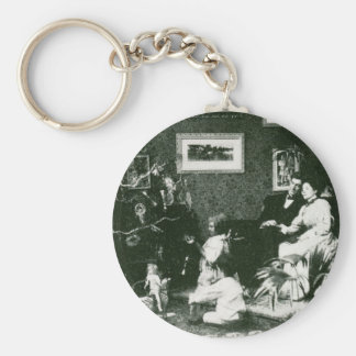 Vintage Family Christmas - Stereoview Basic Round Button Key Ring