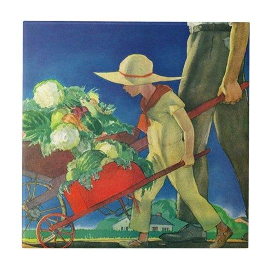 "Vintage Family Farm Harvest Bounty Tiles 4.25"" sq"