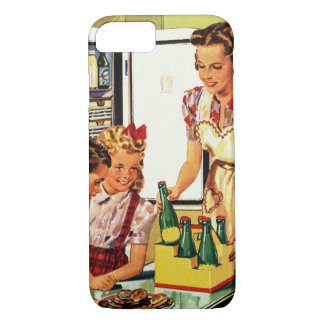 Vintage Family in the Kitchen Mom Dad Kids Snack iPhone 7 Case