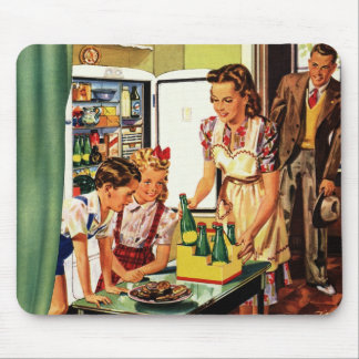 Vintage Family in the Kitchen Mom Dad Kids Snack Mouse Pad