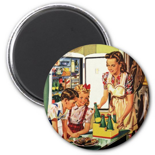 Vintage Family in the Kitchen Mum Dad Kids Snack Magnet