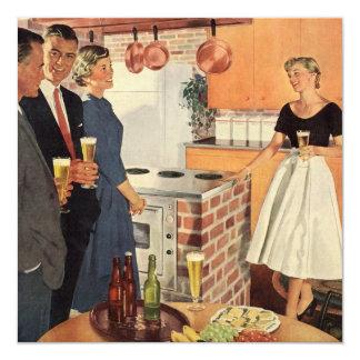 Vintage Family Reunion, Kitchen Party People 13 Cm X 13 Cm Square Invitation Card