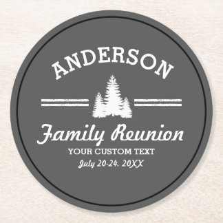Vintage Family Reunion or Trip | Rustic Pine Trees Round Paper Coaster