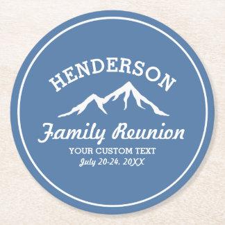 Vintage Family Reunion Trip Cool Mountain Peaks Round Paper Coaster