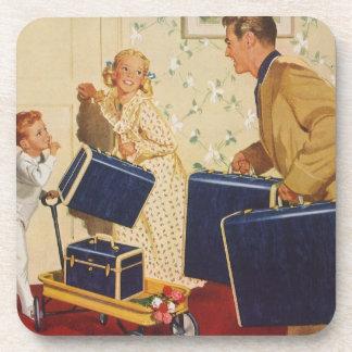 Vintage Family Vacation, Dad Children Suitcases Beverage Coaster