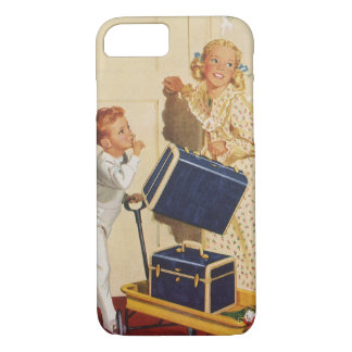 Vintage Family Vacation, Dad Children Suitcases iPhone 8/7 Case