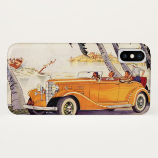 Vintage Family Vacation in a Convertible Car iPhone X Case