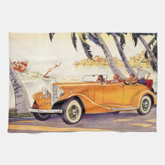Vintage Family Vacation in a Convertible Car Tea Towel