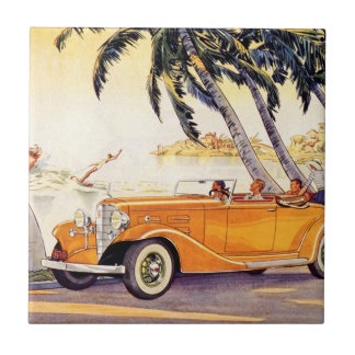 Vintage Family Vacation in a Convertible Car Tile