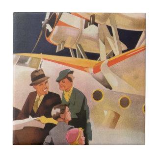 Vintage Family Vacation Via Seaplane w Propellers Tile