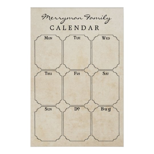Vintage Family Weekly Calendar Wall Schedule Poster