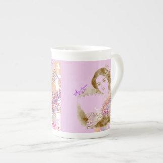 Vintage Fan Lady Pink Bone China Cup Bone China Mug