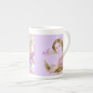 Vintage Fan Lady Purple Bone China Cup Bone China Mug