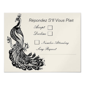 Vintage Fancy in Black RSVP Option 2 11 Cm X 14 Cm Invitation Card