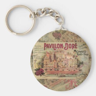 Vintage Fancy Monaco collage Monte Carlo Travel Key Ring