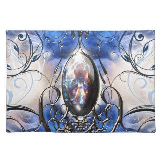 Vintage fancy ornate blue glass designer art place mats