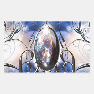 Vintage fancy ornate blue glass designer art rectangular sticker