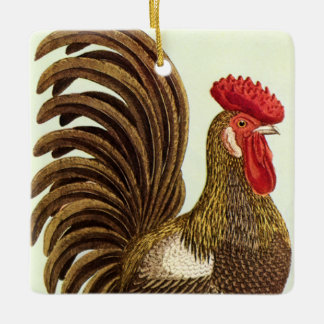 Vintage Farm Animals Chickens, Proud Rooster Silver-Colored Square Decoration