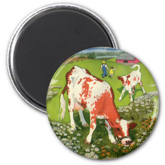 Vintage Farm Animals, Cows Grazing with Farmer 6 Cm Round Magnet