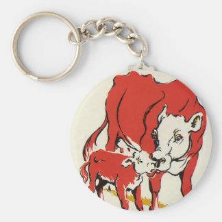 Vintage Farm Animals, Mama Cow with Her Baby Calf Key Ring