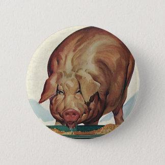 Vintage Farm Animals, Pig Eating Slop at a Trough 6 Cm Round Badge