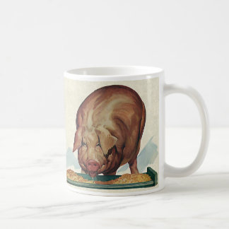 Vintage Farm Animals Pig Eating Slop at a Trough Coffee Mugs